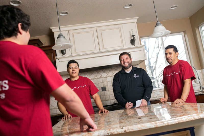 Install Team of flooring franchise in the kitchen